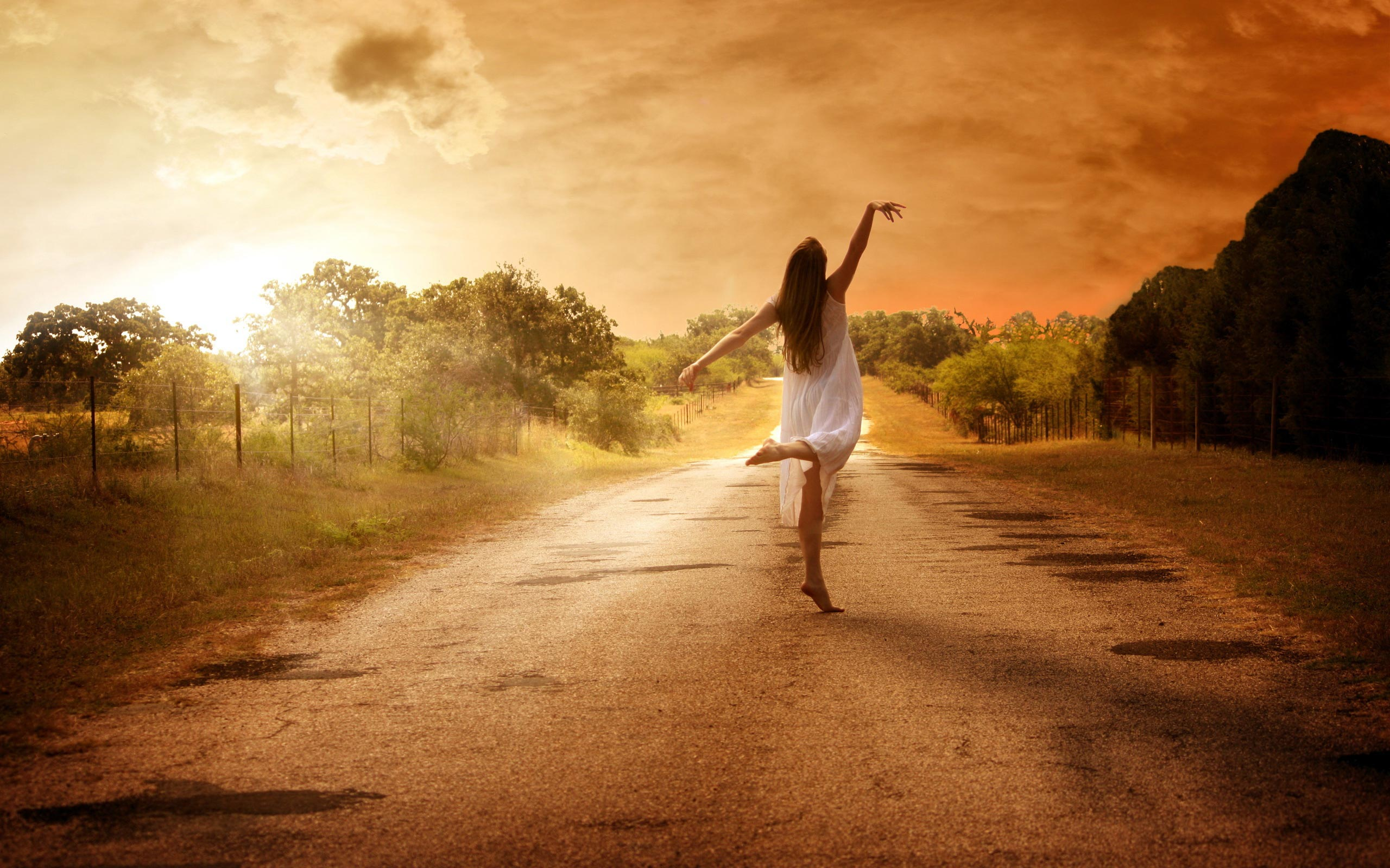 Road-Lonely-Dance-Sunset-Tree-Girl
